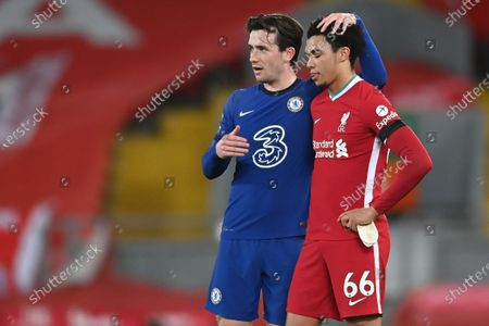 Chelsea's Ben Chilwell (L) and Liverpool's Trent Alexander-Arnold (R) react after the English Premier League soccer match between Liverpool FC and Chelsea FC in Liverpool, Britain, 04 March 2021.