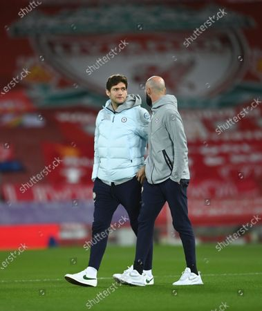 Chelsea's Marcos Alonso (L) and Willy Caballero (R) before the English Premier League soccer match between Liverpool FC and Chelsea FC in Liverpool, Britain, 04 March 2021.
