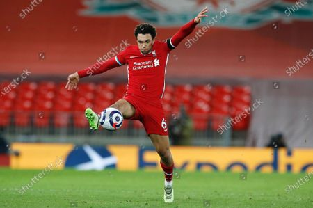 Liverpool's Trent Alexander-Arnold controls the ball during the English Premier League soccer match between Liverpool and Chelsea at Anfield stadium in Liverpool, England