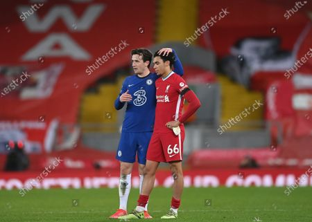 Chelsea's Ben Chilwell, left, and Liverpool's Trent Alexander-Arnold stand at the end of the English Premier League soccer match between Liverpool and Chelsea at Anfield stadium in Liverpool, England, . Chelsea won 1-0