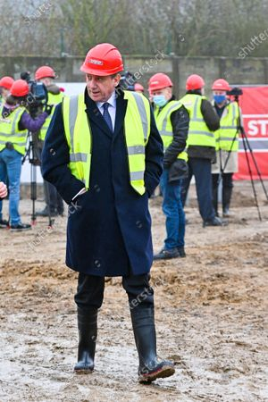 Stock Photo of Laying of the first stone of the new expansion of the Beyers factory, in the presence of Minister Jan Jambon, Hilde Crevits and Mayor Koen Van den Heuvel. The Beyers factory specializing in coffee thus confirms its desire to expand in Belgium.