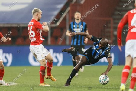 Stock Photo of Standard's Nicolas Raskin and Club's Eder Balanta fight for the ball during a soccer game between Standard de Liege and Club Brugge, Thursday 04 March 2021 in Liege, in the 1/4 finals of the 'Croky Cup' Belgian cup.
