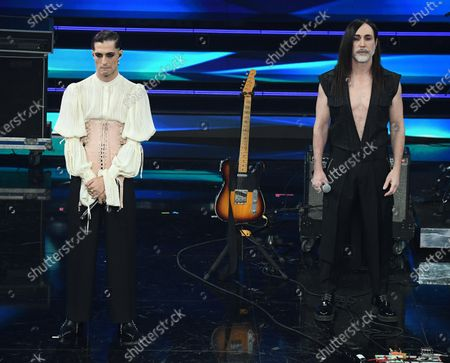 Italian band Maneskin with Italian singer Manuel Agnelli (R) perform on stage at the Ariston theater during the 71st Sanremo Italian Song Festival, in Sanremo, Italy, 04 March 2021. The festival runs from 02 to 06 March.