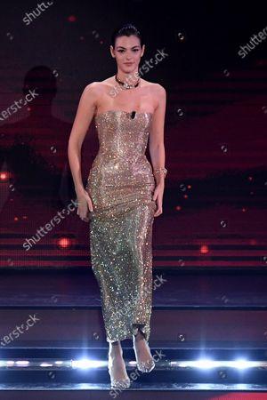Vittoria Ceretti on stage at the Ariston theatre during the 71st Sanremo Italian Song Festival, in Sanremo, Italy, 04 March 2021. The festival runs from 02 to 06 March.