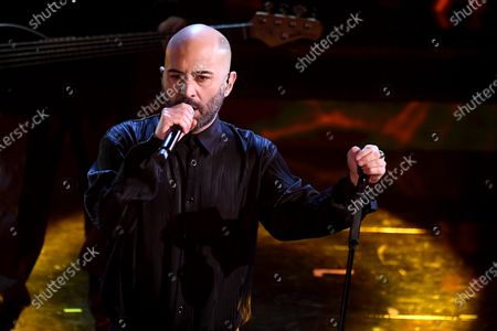 Giuliano Sangiorgi, singer of Italian band Negramaro, performs on stage at the Ariston theatre during the 71st Sanremo Italian Song Festival, in Sanremo, Italy, 04 March 2021. The festival runs from 02 to 06 March.