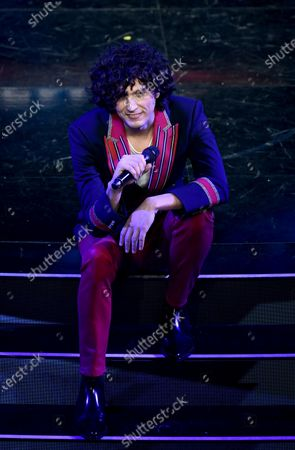 Ermal Meta performs on stage at the Ariston theatre during the 71st Sanremo Italian Song Festival, in Sanremo, Italy, 04 March 2021. The festival runs from 02 to 06 March.