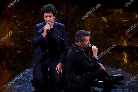 Max Gazze (L) and Daniele Silvestri (R) perform on stage at the Ariston theatre during the 71st Sanremo Italian Song Festival, in Sanremo, Italy, 04 March 2021. The festival runs from 02 to 06 March.