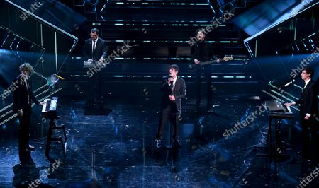 Italian band Lo Stato Sociale with Francesco Pannofino and the entertaiment workers perform on stage at the Ariston theatre during the 71st Sanremo Italian Song Festival, in Sanremo, Italy, 04 March 2021. The festival runs from 02 to 06 March.