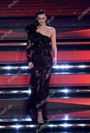 Vittoria Ceretti appears on stage at the Ariston theatre during the 71st Sanremo Italian Song Festival, in Sanremo, Italy, 04 March 2021. The festival runs from 02 to 06 March.