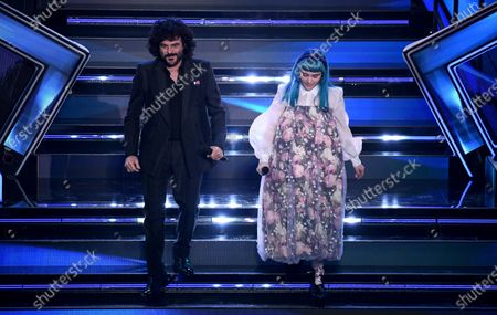 Francesco Renga (L) and Casadilego perform on stage at the Ariston theater during the 71st Sanremo Italian Song Festival, in Sanremo, Italy, 04 March 2021. The festival runs from 02 to 06 March.