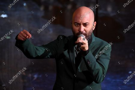 Giuliano Sangiorgi, frontman of Italian band Negramaro, performs on stage at the Ariston theater during the 71st Sanremo Italian Song Festival, in Sanremo, Italy, 04 March 2021. The festival runs from 02 to 06 March.