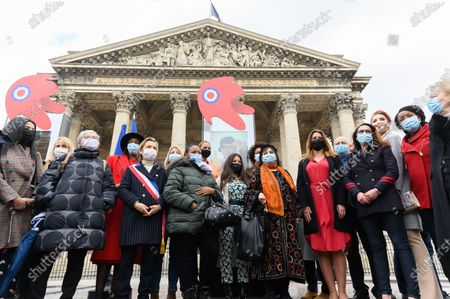 Stock Photo of Guests Florence Berthout, Amandine Petit, guest, Rachel Khan, a guest, Marlene Schiappa and guests
