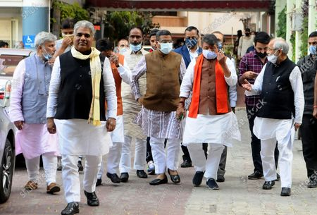 """Stock Photo of BJP delegation comprising Dharmendra Pradhan, Bhupender Yadav, Om Pathak, Shishir Bhajoria, Neeraj Kumar and Dr. Sanjay Mayukh coming out after meet ECI today at Nirvachan Sadan on March 4, 2021 in New Delhi, India. A delegation of BJP on Thursday met Election Commission of India in Delhi. Addressing the media, BJP's Bhupender Yadav said, """"Term of 125 municipal corporations in West Bengal including Kolkata Municipal Corporation ended a year ago. But State Govt appointed TMC leaders as administrators of these local bodies. These administrators should be removed to ensure free and fair polls."""" BJP also complained of few police officers alleging their relations with TMC."""