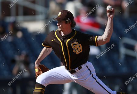 San Diego Padres pitcher Tim Hill throws against the Milwaukee Brewers