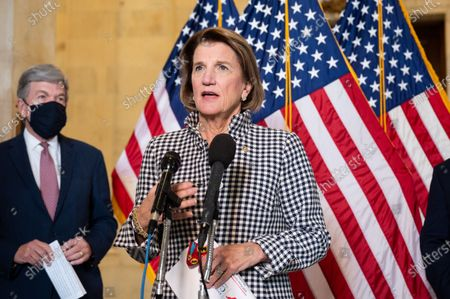 U.S. Senator Shelley Moore Capito (R-WV) speaks at a press conference about the reopening of schools.