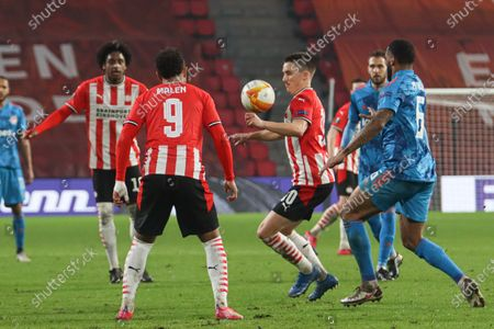 Ryan Thomas #30 of PSV in action with the ball  during the UEFA Europa League match between PSV v Olympiakos Piraeus at the Philips Stadium on February 25, 2021 in Eindhoven Netherlands.