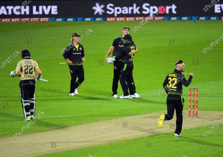 Stock Image of Australia's Mitch Marsh catches Kane Williamson off Glenn Maxwell during the 4th international men's T20 cricket match between the New Zealand Black Caps and Australia at Sky Stadium in Wellington, New Zealand on Friday, 5 March 2021.