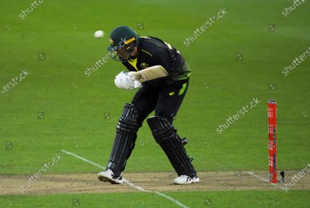 Australia's Ashton Agar ducks a Trent Boult bouncer during the 4th international men's T20 cricket match between the New Zealand Black Caps and Australia at Sky Stadium in Wellington, New Zealand