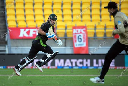 Australia's Aaron Finch takes a single during the 4th international men's T20 cricket match between the New Zealand Black Caps and Australia at Sky Stadium in Wellington, New Zealand