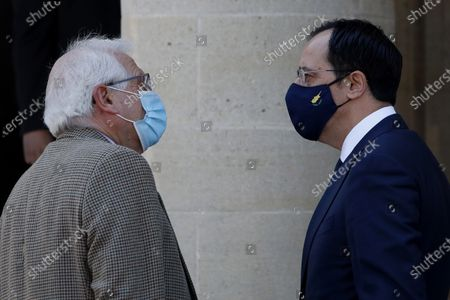 European Union foreign policy chief Josep Borrell (L) is welcomed by Cyprus foreign minister Nikos Christodoulides (R) before a meeting with Cyprus' president Nicos Anastasiades at the presidential palace in capital Nicosia, Cyprus, 05 March 2021. Borrell is in Cyprus for two-days official visit.