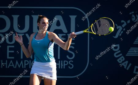 Kristyna Pliskova of the Czech Republic in action during the first round of the 2021 Dubai Duty Free Tennis Championships WTA 1000 tournament