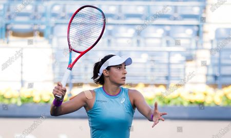 Caroline Garcia of France in action during the first round of the 2021 Dubai Duty Free Tennis Championships WTA 1000 tournament