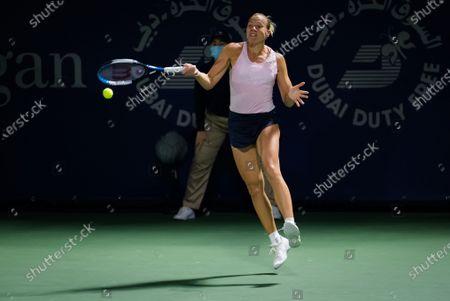 Kaia Kanepi of Estonia in action during the first round of the 2021 Dubai Duty Free Tennis Championships WTA 1000 tournament