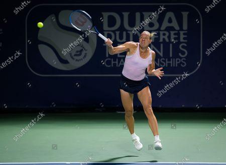 Stock Image of Kaia Kanepi of Estonia in action during the first round of the 2021 Dubai Duty Free Tennis Championships WTA 1000 tournament