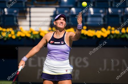 Timea Babos of Hungary in action during the first round of the 2021 Dubai Duty Free Tennis Championships WTA 1000 tournament