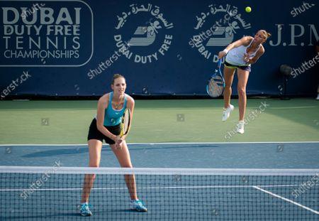 Stock Photo of Karolina Pliskova & Kristyna Pliskova of the Czech Republic playing doubles at the 2021 Dubai Duty Free Tennis Championships WTA 1000 tournament