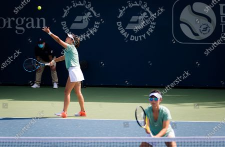 Stock Image of Yifan Xu & Zhaoxuan Yang of China playing doubles at the 2021 Dubai Duty Free Tennis Championships WTA 1000 tournament