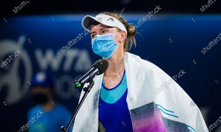 Barbora Krejcikova of the Czech Republic in action during the semi-final at the 2021 Dubai Duty Free Tennis Championships WTA 1000 tournament