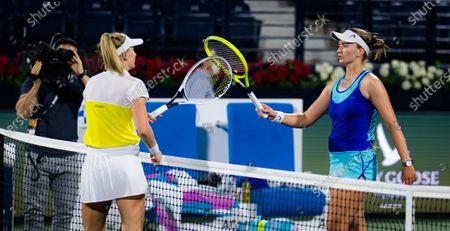 Jil Teichmann of Switzerland & Barbora Krejcikova of the Czech Republic at the net after their semi-final at the 2021 Dubai Duty Free Tennis Championships WTA 1000 tournament