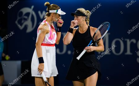 Alexa Guarachi of Chile & Darija Jurak of Croatia playing doubles at the 2021 Dubai Duty Free Tennis Championships WTA 1000 tournament