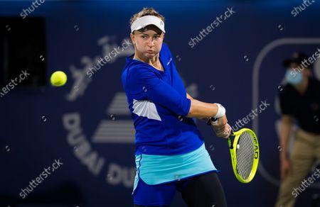 Barbora Krejcikova of the Czech Republic in action during the final of the 2021 Dubai Duty Free Tennis Championships WTA 1000 tournament
