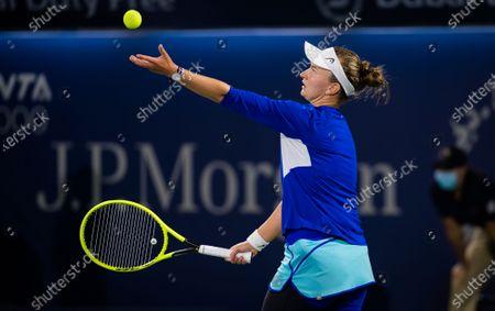 Stock Photo of Barbora Krejcikova of the Czech Republic in action during the final of the 2021 Dubai Duty Free Tennis Championships WTA 1000 tournament