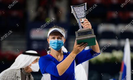 Barbora Krejcikova of the Czech Republic during the trophy ceremony after the final of the 2021 Dubai Duty Free Tennis Championships WTA 1000 tournament