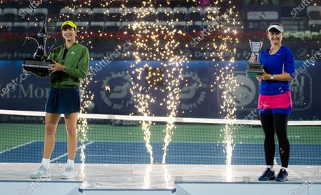 Barbora Krejcikova of the Czech Republic & Garbine Muguruza of Spain during the trophy ceremony after the final of the 2021 Dubai Duty Free Tennis Championships WTA 1000 tournament