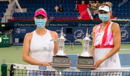 Alexa Guarachi of Chile & Darija Jurak of Croatia with their doubles champions trophies after the doubles final at the 2021 Dubai Duty Free Tennis Championships WTA 1000 tournament