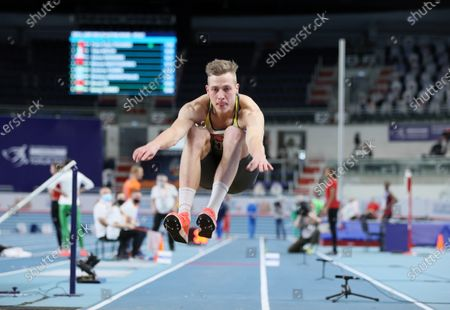 Max Hess of Germany competes in the men's Triple Jump qualification at the 36th European Athletics Indoor Championships at the Arena Torun, in Torun, north-central Poland, 05 March 2021.