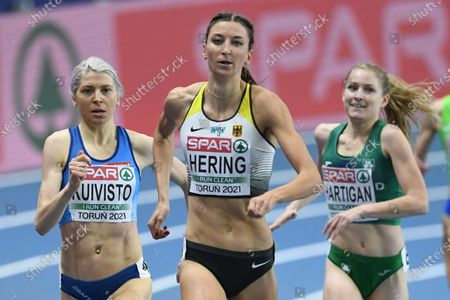 Stock Picture of Sara Kuivisto (L) of Finland and Christina Hering (C) of Germany compete in the women's 800m heats at the 36th European Athletics Indoor Championships at the Arena Torun, in Torun, north-central Poland, 05 March 2021.