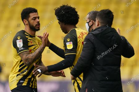 Andre Gray of Watford (18) is replaced by Carlos Sánchez of Watford (28)