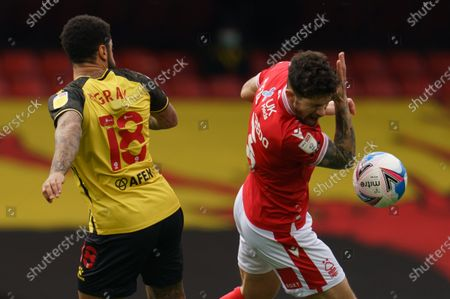 Tobias Figueiredo of Nottingham Forest (3) reacts after a clash with Andre Gray of Watford (18)