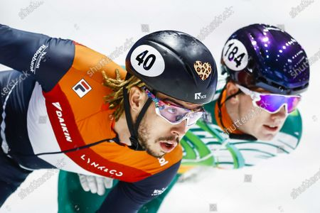 Stock Picture of Dylan Hoogerwerf of the Netherlands, Liam O' Brien of Ireland (L-R) in action in the heats 1000 meters at the ISU Short Track Speed Skating World Championships in Dordrecht, the Netherlands, 05 March 2021.