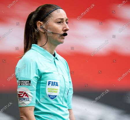 Assistant referee Sian Massey looks across the defensive line; Bramall Lane, Sheffield, Yorkshire, England; English Premier League Football, Sheffield United versus Southampton.