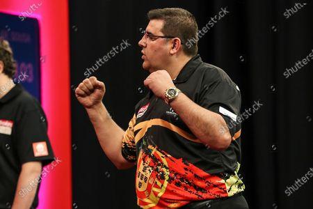 Jose de Sousa wins his third round match against Mervyn King during the Ladbrokes UK Open at Stadium:MK, Milton Keynes
