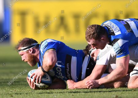 Henry Thomas of Bath at the bottom of a ruck; 6th March 2021 2021; Recreation Ground, Bath, Somerset, England; English Premiership Rugby, Bath versus Exeter Chiefs.