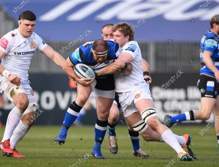 Jonny Gray of Exeter Chiefs tackles Henry Thomas of Bath; 6th March 2021 2021; Recreation Ground, Bath, Somerset, England; English Premiership Rugby, Bath versus Exeter Chiefs.