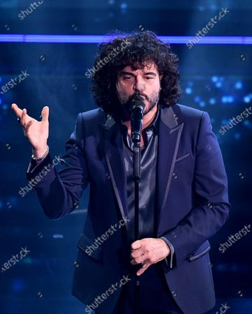 Stock Picture of Francesco Renga pergorms on stage at the Ariston theatre during  the 71st Sanremo Italian Song Festival, Sanremo, Italy, 05 March 2021. The festival runs from 02 to 06 March.