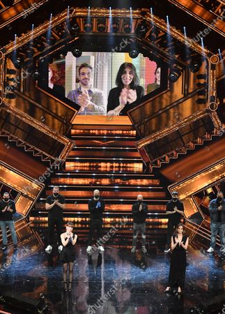 Alessandra Amoroso and Italian actress Matilde Gioli perform on stage at the Ariston theatre during the 71st Sanremo Italian Song Festival, Sanremo, Italy, 05 March 2021. The festival runs from 02 to 06 March.